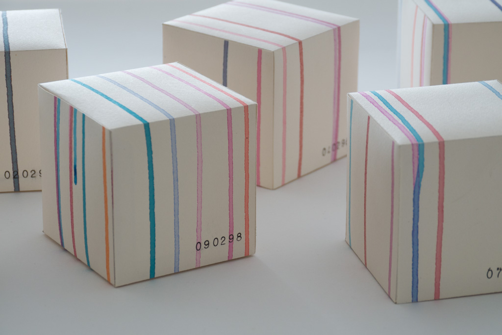 acrylic on paper 80 x 80 x 80 mm